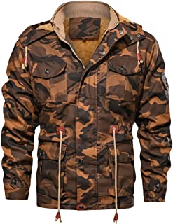 🍒 Spring Color 🍒 Men's Camouflage Coat Drawstring Military Cotton Zip Up Hoodie Anoraket