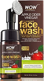 WOW Skin Science Apple Cider Vinegar Foaming Face Wash - No Parabens, Sulphate & Silicones (with built-in brush)
