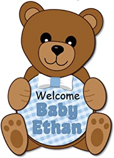 Personalized Teddy Bear Baby Shower or Birthday Party Welcome Sign for Boy with Optional Decorations Banner, Cake Topper, Centerpiece, Favor Tags or Stickers, Thank Yous - Made in USA - BCPCustom