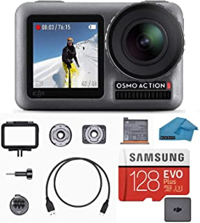 DJI OSMO Action Cam Digital Camera Bundle with 2 Displays 36FT/11M Waterproof 4K HDR-Video 12MP 145° Angle, 128gb Micro SD Card, Card Reader, Must Have Accessories