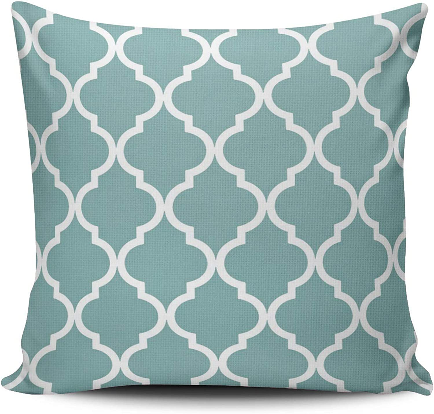 VAMIX Classic Quatrefoil in Sea Glass bluee and White Home Decoration Pillowcase 18X18 Inch Square Stylish and Elegant Design Throw Pillow case Cushion Cover Double Sided Printed