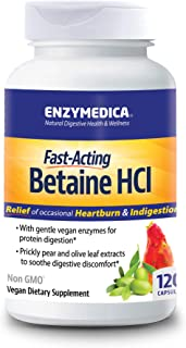 Enzymedica, Betaine HCl, Supports Gentle Relief from Occasional Heartburn and Indigestion, 120 Capsules