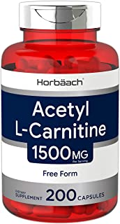 Acetyl L-Carnitine 1500 mg 200 Capsules | ALCAR | Non-GMO, Gluten Free | by Horbaach