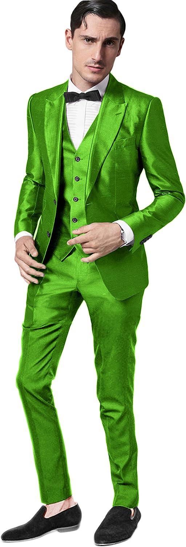 Setwell Men Suits Slim Fit Skinny Tuxedo Custom Stage Performance Prom Blazer 3 Pieces
