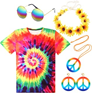 5 Pack Hippie Costume Set Colorful 60's Costumes Tie-Dye T-Shirts Sunglasses Necklace Headband
