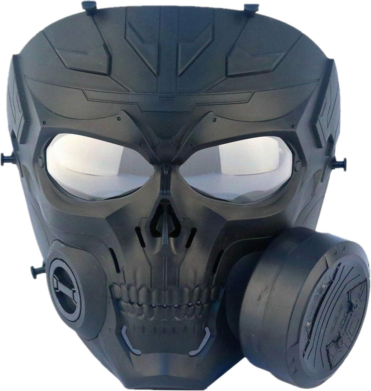 FOJMAI Máscara táctica de paintball Airsoft para protección de ojos, máscara de calavera mecánica con ventilador turbo lente transparente