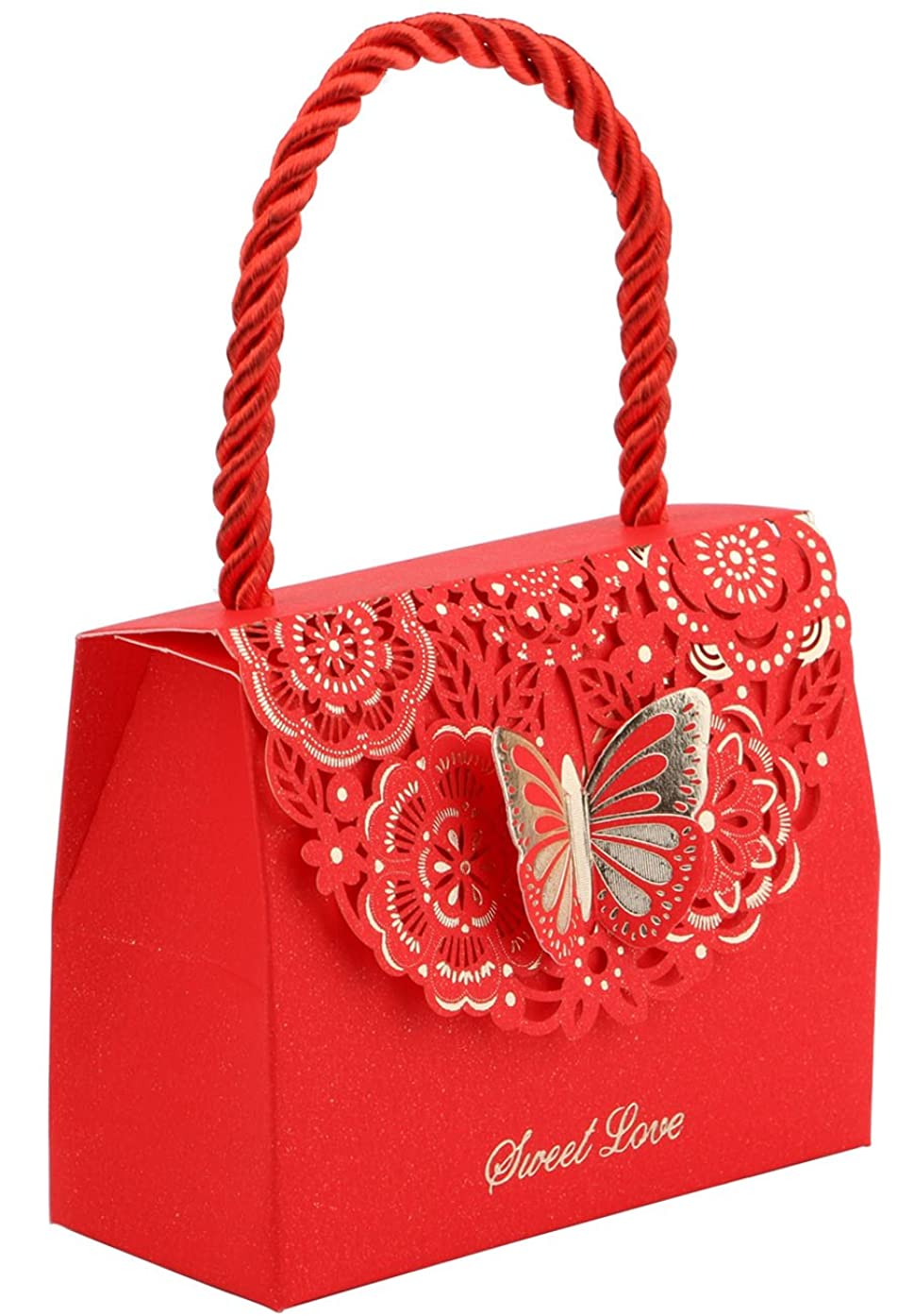 20pcs Butterfly Decorative Boxes Paper Tote Gift Bags with Handle, DriewWedding Wedding Flower Favor Boxes for Anniversary, Birthday Parties, Baby Shower, Bridal Showers - Red, 3.5