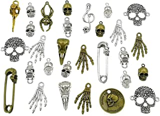 100 Grams Assorted(Color&Style) Skull Skeleton Bone Punk Steampunk Charm Pendant Connector for DIY Necklace Bracelet Jewelry Making Findings