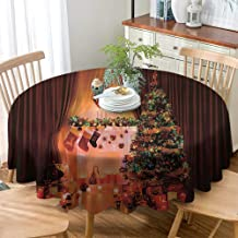 VICWOWONE Round Tablecloth Hotel Christmas Decorations Christmas Decoration Protection Table Christmas Spirit in The House with Lights and Decorative Objects Peaceful Place Photo,D71(180cm) Multi