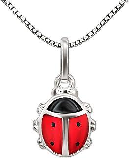 """CLEVER SCHMUCK-SET argento Mini-coccinella """"rosso nero"""" con catena Venezia 36 cm in argento 925"""