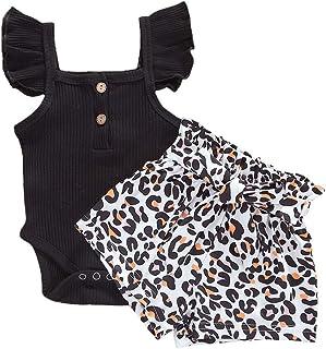 Bebé recién Nacido Niños Niñas Volar Manga Ruffles Top + Pantalones Cortos con Estampado de Leopardo Conjuntos Conjunto 0-...