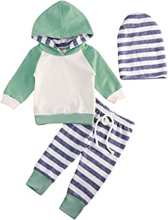 Toddler Newborn Baby Boy Hoodie with Check Pocket Tops Plaid Pants Black Outfit Clothes (9-12 Months)