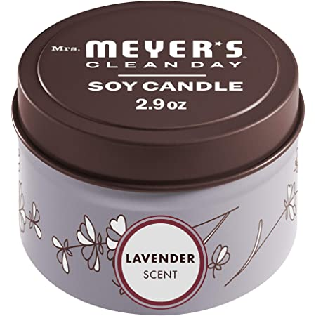Mrs. Meyers Clean Day Scented Soy Tin Candle, 12 Hour Burn Time, Made with Soy Wax and Essential Oils, Lavender, 2.9 oz
