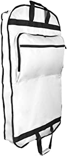 """DALIX 39"""" Garment Bag Cover for Suits and Dresses Clothing Foldable w Pockets White"""