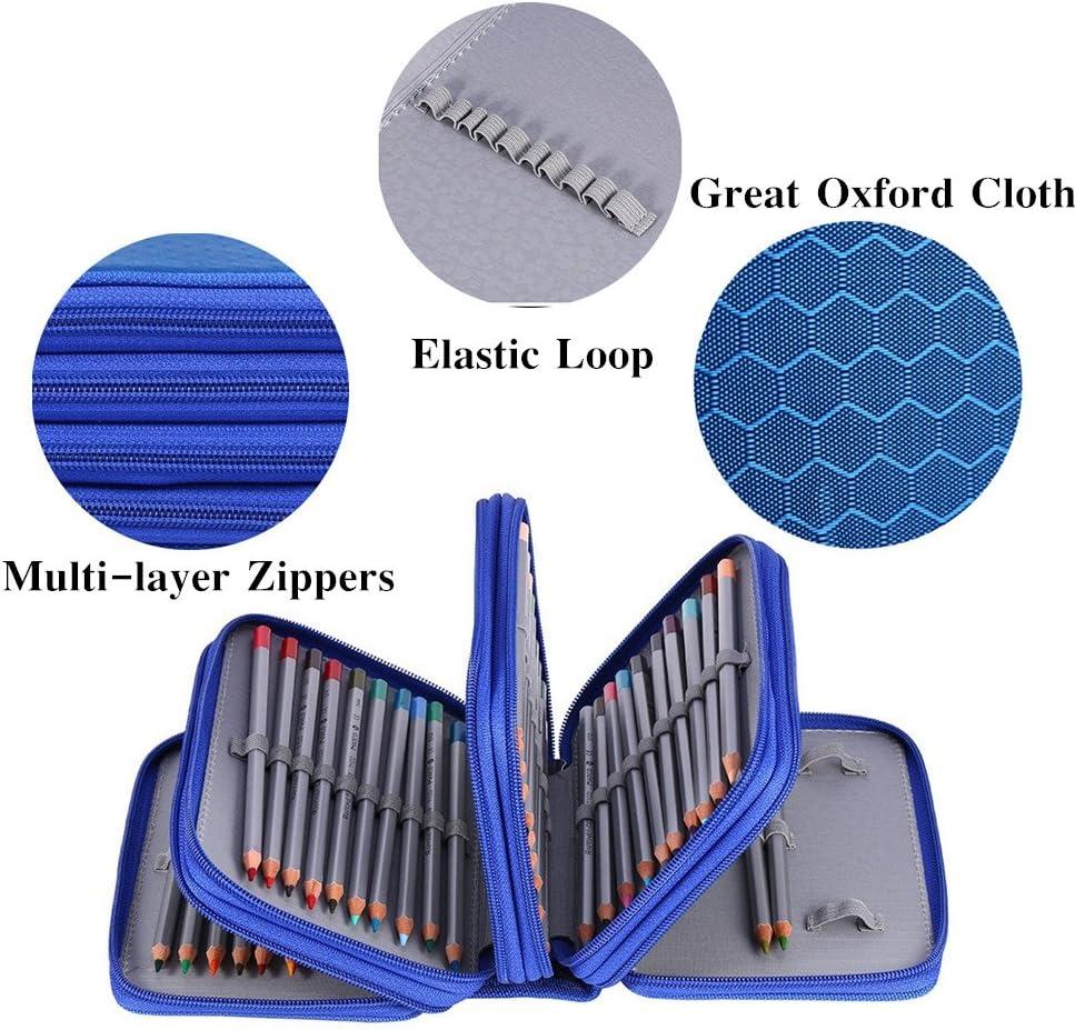 papeler/ía Oxford funda con gran capacidad multicapa organizador de l/ápices ZJchao 72/piezas estuche bolsa de l/ápices de colores