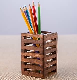 aheli Wooden Handmade Pen Pencil Holder Stand Mesh Design Carved for Kids Office Desk Display