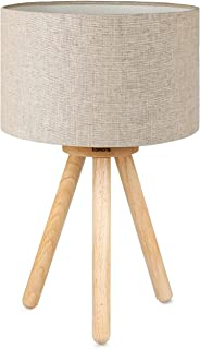 Bedside Table Lamp with Wood Tripod Base, Tomons Soft Warm Light for Bedroom, Living Room, Girls Room, Dorm Nightstand Lamp with Fabric Lampshade, Simple Design, LED Bulb Included