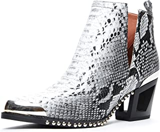Jeffrey Campbell Optimum MHS', Black White Snake Embossed, Cut OUF Boot