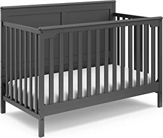 Storkcraft Alpine 4-in-1 Convertible Crib (Gray) – JPMA Certified, Converts to Toddler Bed, Daybed, and Full-Size Bed with Headboard and Footboard, Adjustable Mattress Support Base