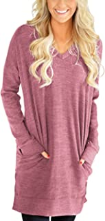 Womens Casual V-Neck Long Sleeves Pocket Solid Color Sweatshirt Tunics Blouse Tops