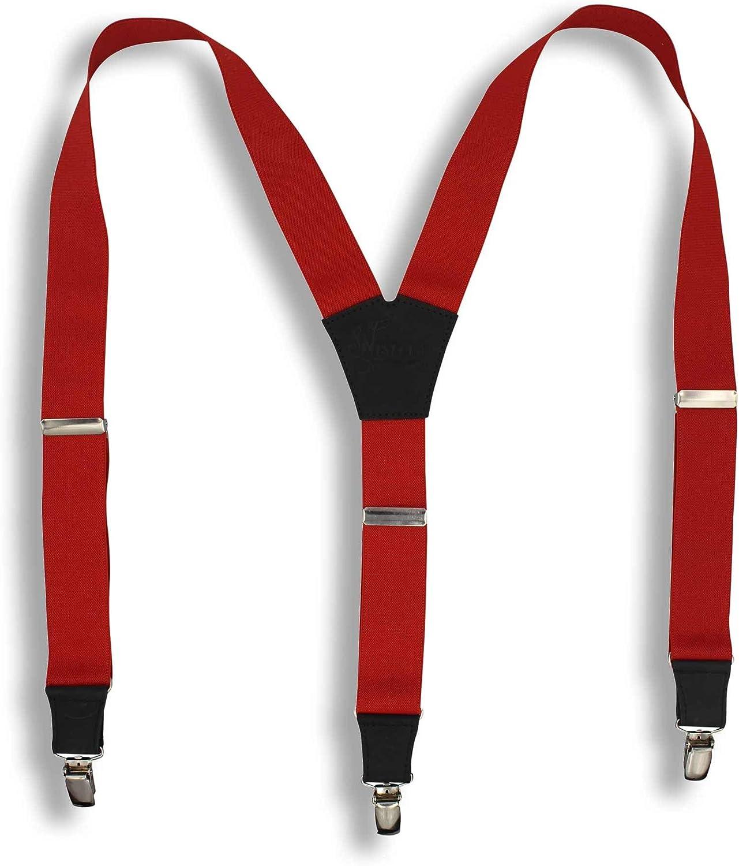 Suspenders Blood Red Elastic Wide 1.36 inch   Wiseguy Original