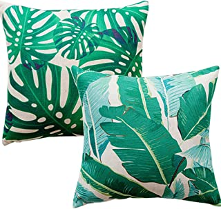 Unibedding Tropical Throw Pillows Covers Decorative Palm Plant Leaf Pillow Case for Outdoor Patio Couch Chair Fall Home Decor 18 X 18 Inch,2 Pack Green