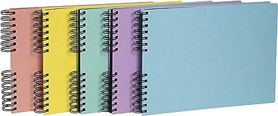 Exacompta - Réf. 16540E - Album Photos à spirales AQUAREL 50 Pages Noires - 150 photos - Format 32 X 22 cm - Couverture en carte lustrée de couleurs aléatoires,bleu,corail,jaune,mauve,vert