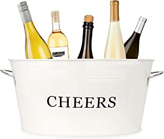 Twine Rustic Farmhouse Galvanized Cheers Tub, Cream, 6.3 gallons, White