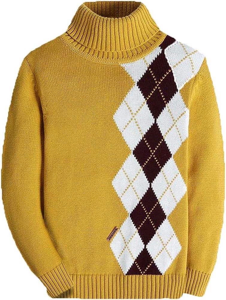 Kids Long Sleeve Sweater Argyle Uniform Plaid Turtleneck Pullover for Boys Girls