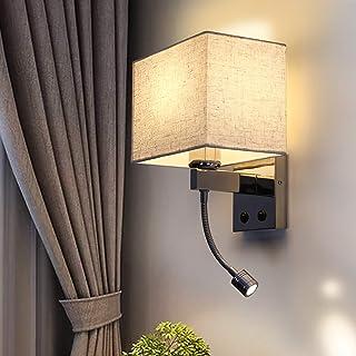 Aplique LED ZMH Aplique textil 2 llamas tela blanca E27 (NO incluida) con interruptor y 2 en 1 con luz de lectura flexible lámpara de lectura para habitaciones de hotel