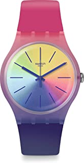 Swatch Womens Solar Powered Watch, Analog Display and Silicone Strap - SUOK143