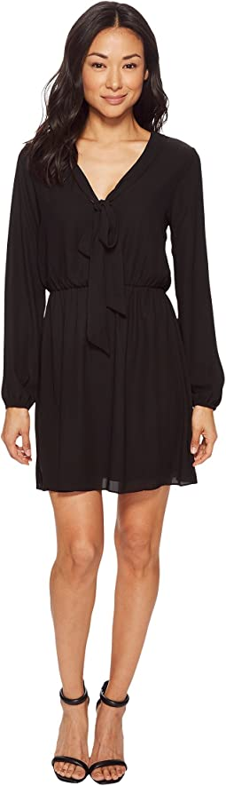 American Rose Emily Long Sleeve Tie-Front Dress