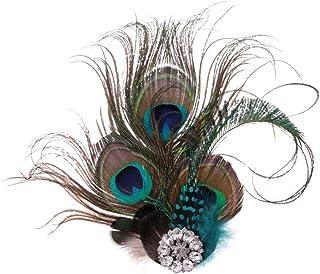 Prettyia 1920s Flapper Fascinator Headpiece, Roaring 20s Feather Hair Clip Gatsby for Girls Women Tea Party Wedding Bridal