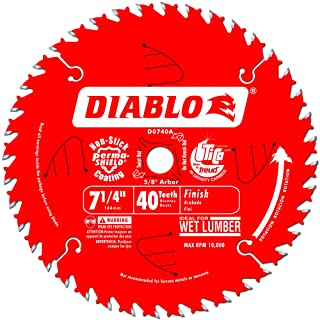 Freud D0740A Diablo 7-1/4 40 Tooth ATB Finishing Saw Blade with 5/8-Inch Arbor, Diamond..