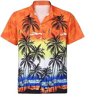 Camisa Hawaiana de los Hombres 3D Impreso Bolsillo Moda Delgado Manga Corta Diseño de Palmeras, Playa, Fiesta, Verano y Vacaciones