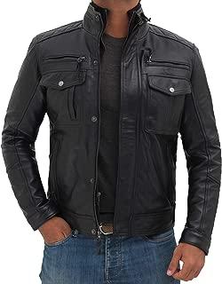 Black Leather Jacket for Men - Genuine Lambskin Motorcycle Leather Jacket Mens