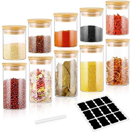 Lot de 10 bocaux de conservation en verre hermétiques avec couvercles - 200 ml + 300 ml