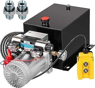VEVOR Hydraulic Power Unit 12 Volt Dump Trailer Hydraulic Pump Double Acting 12 Quart Hydraulic Pump Electric Hydraulic Cylinder Pump with Brass Pressure Gauge for Dump Trailer Lift Gates & Trucker