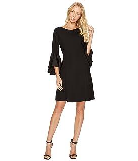 Crepe Back Satin Ruffle Sleeve Dress