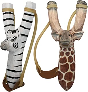 BUY ONE GET ONE FREE - NATURE LAUNCHERS - Hand-Carved Wooden Slingshot - 2 PACK - Giraffe Zebra