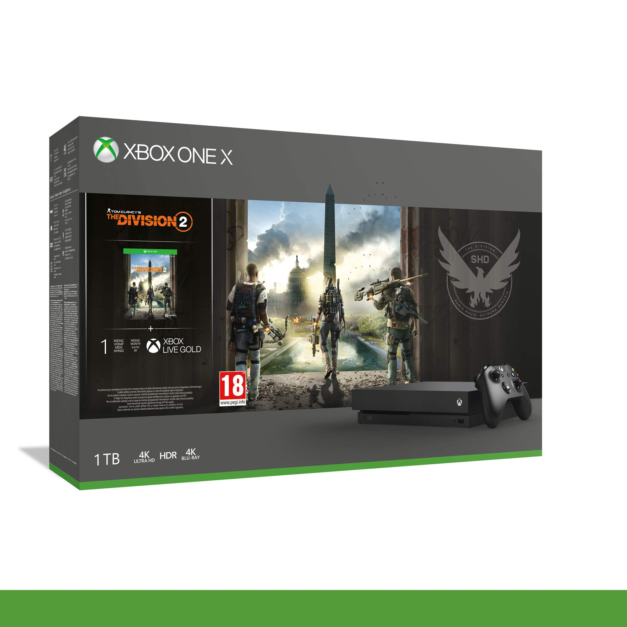 Microsoft Xbox One X + Tom Clancys The Division 2 Negro 1000 GB Wifi - Videoconsolas (Xbox One X, Negro, 8192 MB, GDDR5, GDDR5, 12288 MB): Amazon.es: Videojuegos