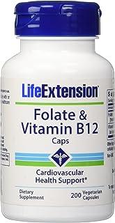 Life Extension Folate & Vitamin B12 Vegetarian Capsules, 90 Count