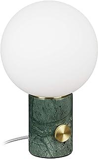 Relaxdays, base de mármol, bola de cristal, casquillo E14, regulable, para salón, lámpara de mesa, 32 x 19 cm, color blanco y verde