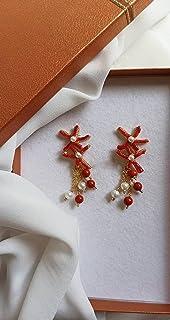 Orecchini Pendenti con Corallo Rosso e Perle
