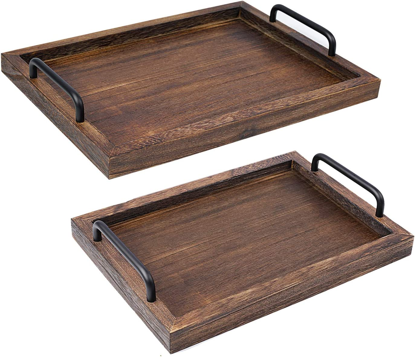 LIBWYS Superior supreme Rustic Wooden Serving Trays with Nesti Decorative Handle
