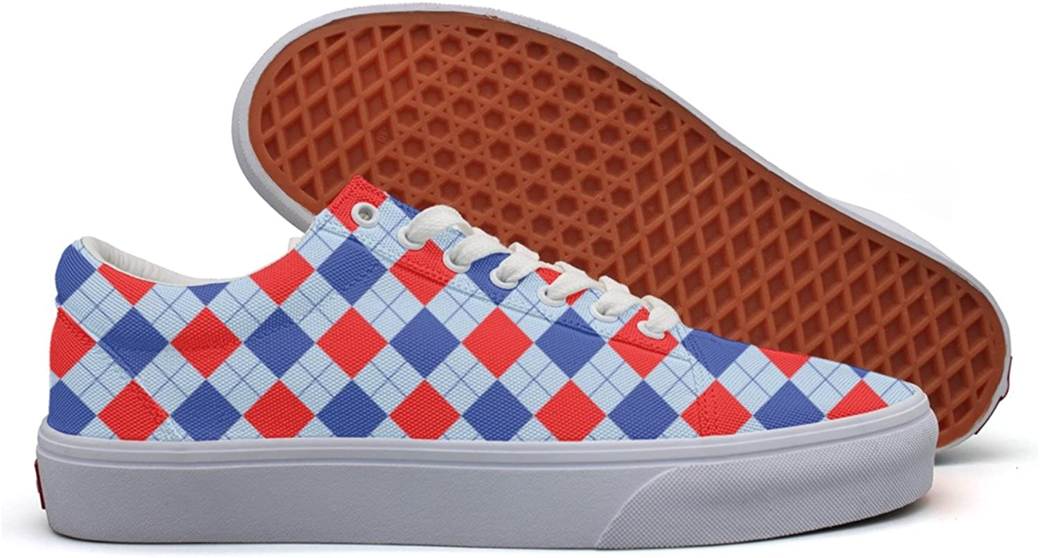 Charmarm Red bluee Checkerboard Women Fashion Low Top Canvas Running shoes