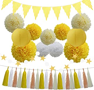 33pcs Party Decoration Supplies Set, Yellow Tissue Paper Pom Poms Flowers Paper Lanterns Tassels Hanging Garland Banner Triangle Flag Bunting for Birthday, Bridal, Baby Shower, Wedding Graduation