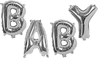 Huge Silver Baby Letters Balloons 40 Inch Foil Mylar Banner for Gender Reveal Party Baby Shower Birthday Decorations
