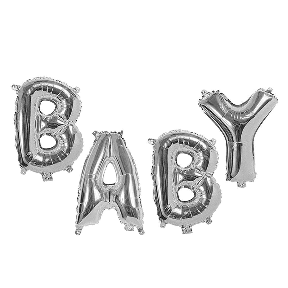 Treasures Gifted 40 Inch Baby Silver Mylar Foil Letters Balloons Helium Kit Personalized Party Supplies Gender Neutral Reveal Shower Glamorous Alphabet Aluminum Ornaments