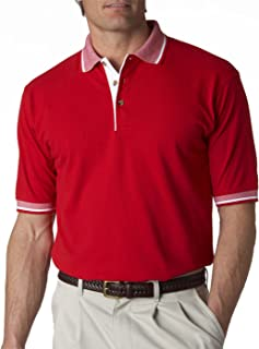 Ultraclub 8537 Adult Color-Body Classic Piqu Polo With Contrast Multi-Stripe Trim Red/White 3Xl